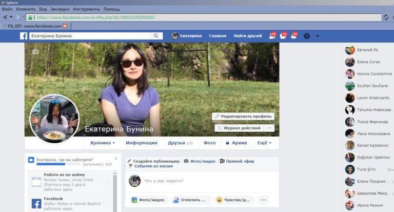 Личность для браузера Sphere Tenebris — Женские трастовые аккаунты Facebook ручного фарма со 100 живыми друзьями для запуска рекламы (Фарм + Выдержка до 2 лет + АНТИБАН + Прогон по IP) 12